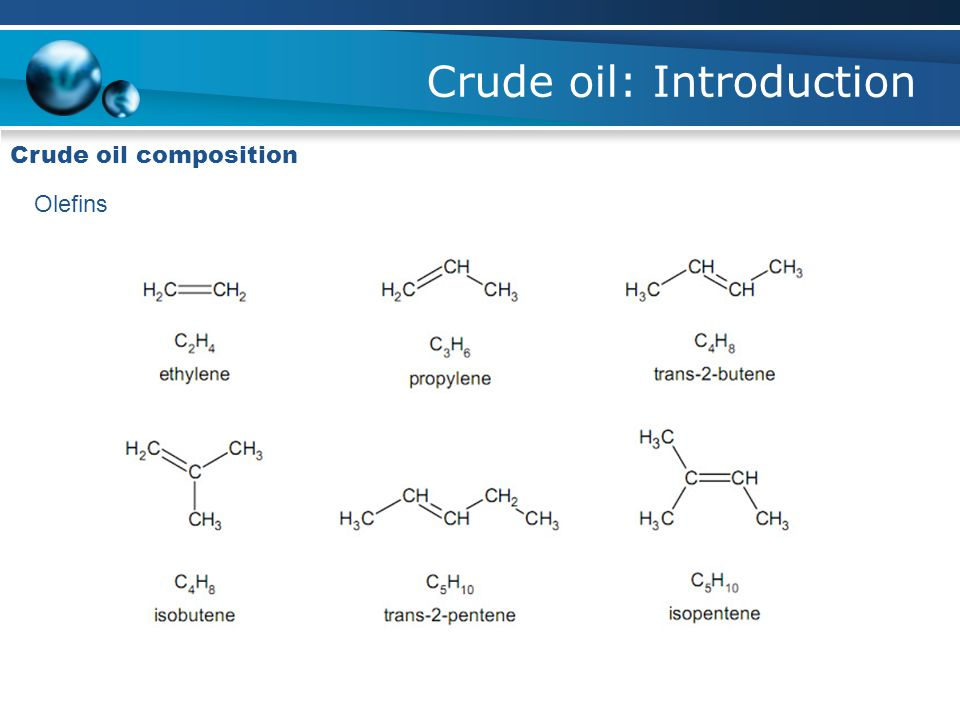 Crude oil: Introduction Type of crude oil
