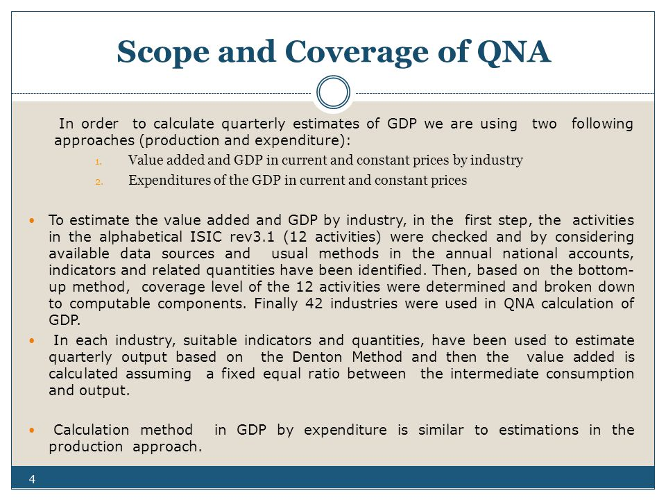 Scope and Coverage of QNA In order to calculate quarterly estimates of GDP we are using two following approaches (production and expenditure): 1.