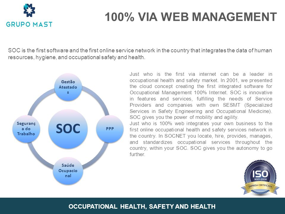 SOC is the first software and the first online service network in the country that integrates the data of human resources, hygiene, and occupational s