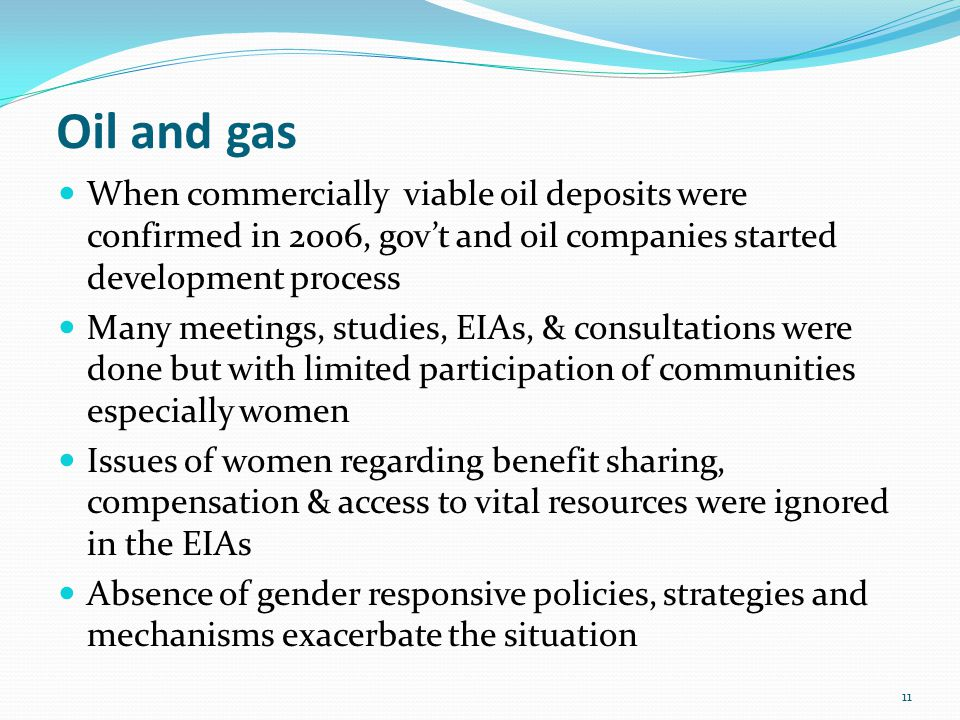Oil and gas When commercially viable oil deposits were confirmed in 2006, gov't and oil companies started development process Many meetings, studies,