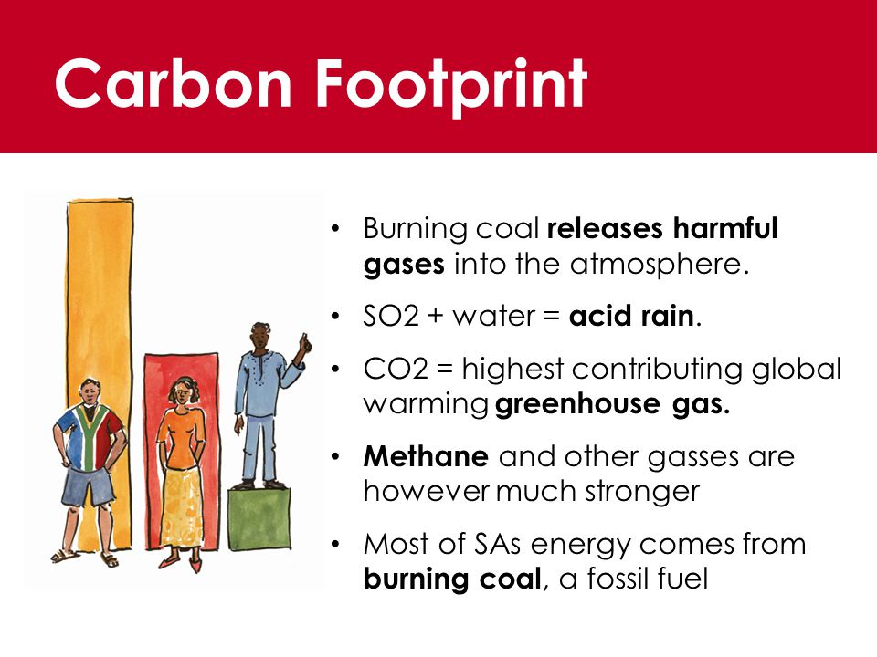 Carbon Footprint Burning coal releases harmful gases into the atmosphere.