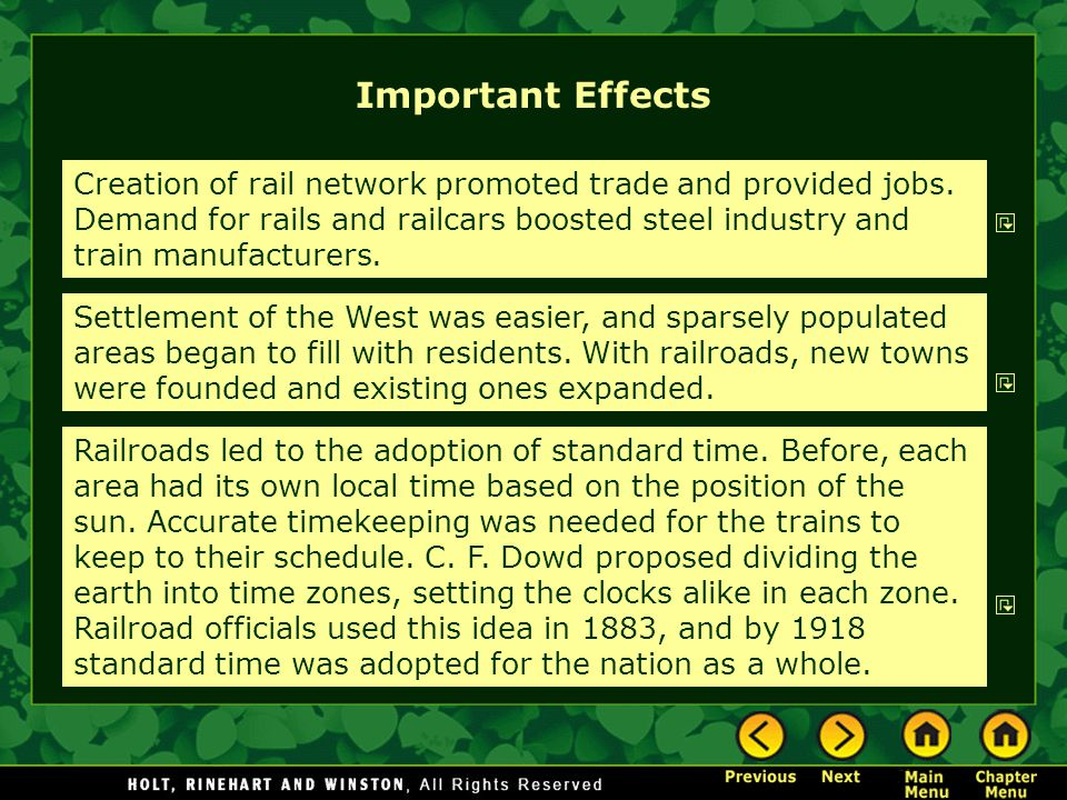 Important Effects Creation of rail network promoted trade and provided jobs.