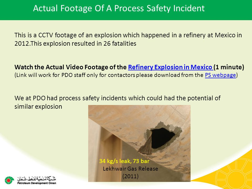 Actual Footage Of A Process Safety Incident This is a CCTV footage of an explosion which happened in a refinery at Mexico in 2012.This explosion resul