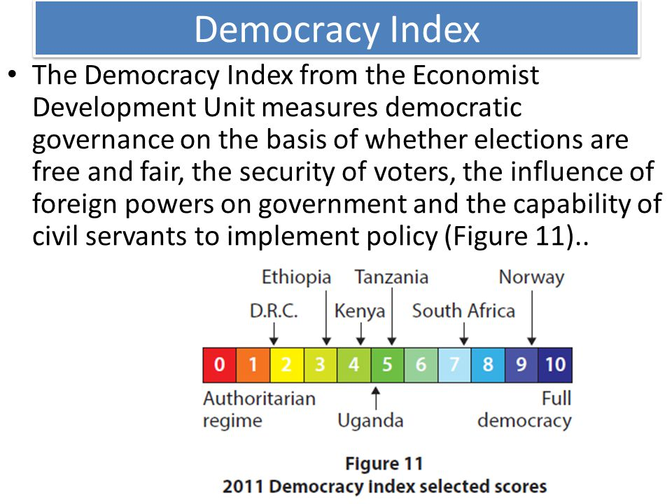 Democracy Index The Democracy Index from the Economist Development Unit measures democratic governance on the basis of whether elections are free and fair, the security of voters, the influence of foreign powers on government and the capability of civil servants to implement policy (Figure 11)..