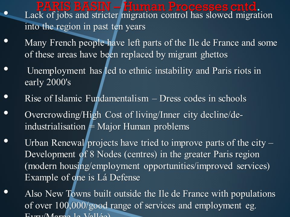 PARIS BASIN – Human Processes cntd. Lack of jobs and stricter migration control has slowed migration into the region in past ten years Lack of jobs an