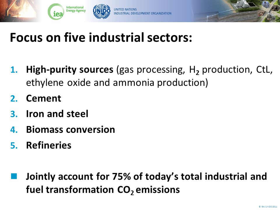 © IEA/UNIDO 2011 Challenge of CO 2 emissions from industry Industry accounts for 25% of total global CO 2 emissions Under a baseline scenario, total industrial CO 2 emissions would grow by 120% in the next four decades Emissions from sectors covered in the roadmap would grow by 83%