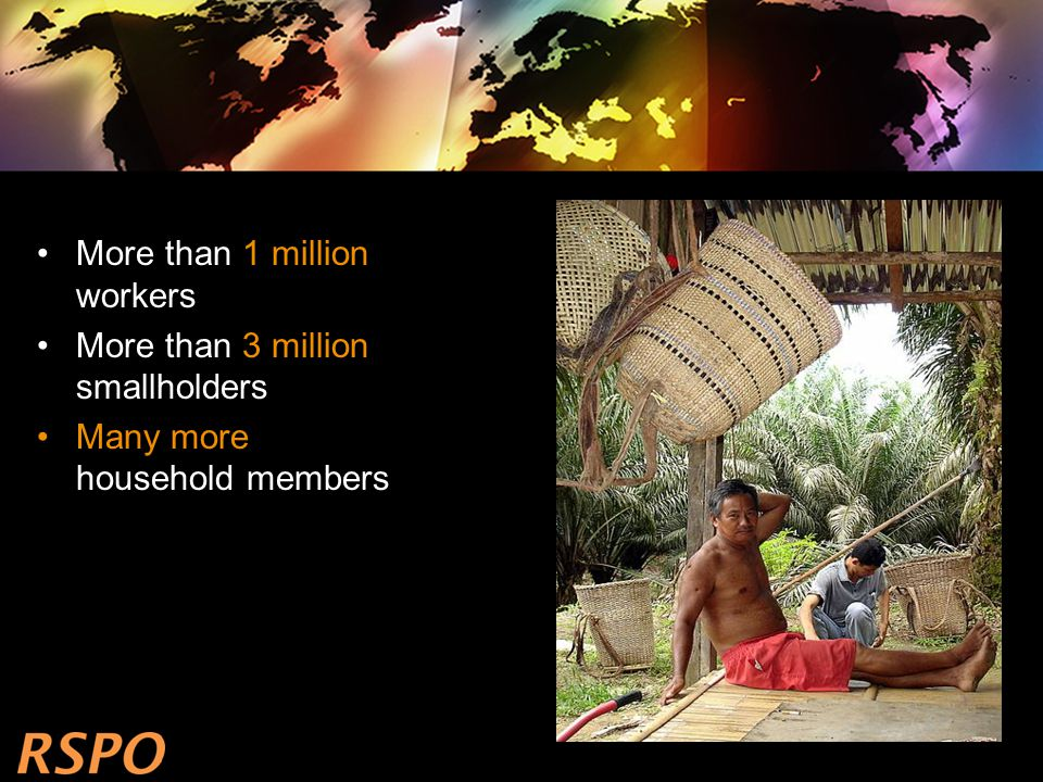More than 1 million workers More than 3 million smallholders Many more household members