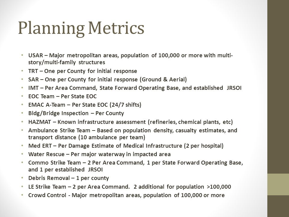 Planning Metrics USAR – Major metropolitan areas, population of 100,000 or more with multi- story/multi-family structures TRT – One per County for initial response SAR – One per County for initial response (Ground & Aerial) IMT – Per Area Command, State Forward Operating Base, and established JRSOI EOC Team – Per State EOC EMAC A-Team – Per State EOC (24/7 shifts) Bldg/Bridge Inspection – Per County HAZMAT – Known infrastructure assessment (refineries, chemical plants, etc) Ambulance Strike Team – Based on population density, casualty estimates, and transport distance (10 ambulance per team) Med ERT – Per Damage Estimate of Medical Infrastructure (2 per hospital) Water Rescue – Per major waterway in impacted area Commo Strike Team – 2 Per Area Command, 1 per State Forward Operating Base, and 1 per established JRSOI Debris Removal – 1 per county LE Strike Team – 2 per Area Command.