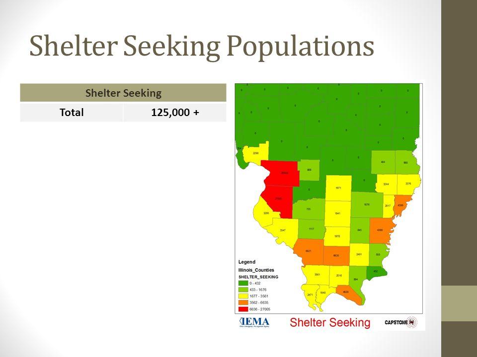 Shelter Seeking Populations Shelter Seeking Total125,000 +