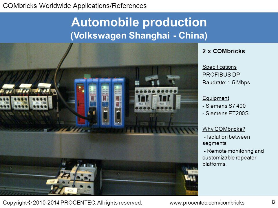 COMbricks Worldwide Applications/References Copyright © 2010-2014 PROCENTEC. All rights reserved.www.procentec.com/combricks (Volkswagen Shanghai - Ch