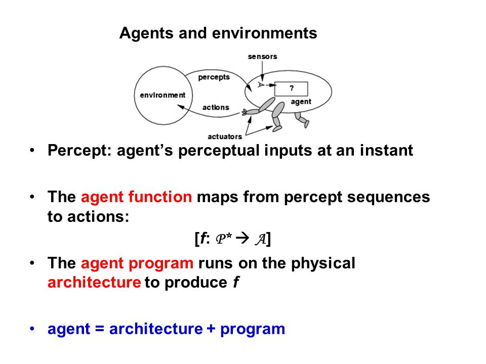 Agents and environments Percept: agent's perceptual inputs at an instant The agent function maps from percept sequences to actions: [f: P*  A ] The agent program runs on the physical architecture to produce f agent = architecture + program