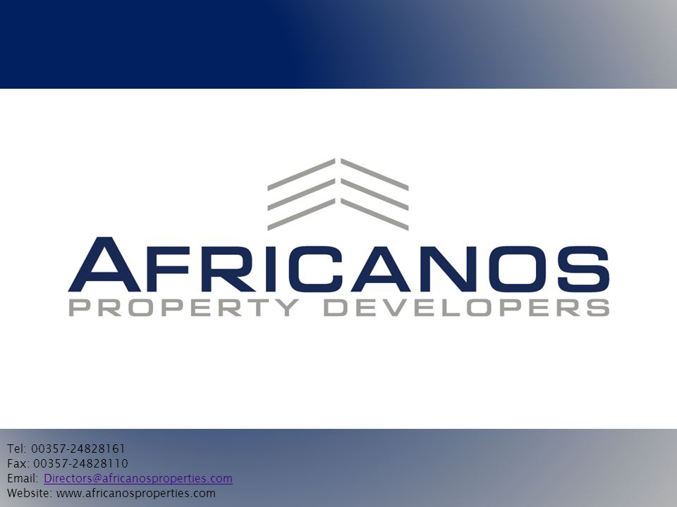 AFRICANOS GROUP AFRICANOS PROPERTY DEVELOPMENTS This is the main company which acquires land for development in order to sell to future clients.