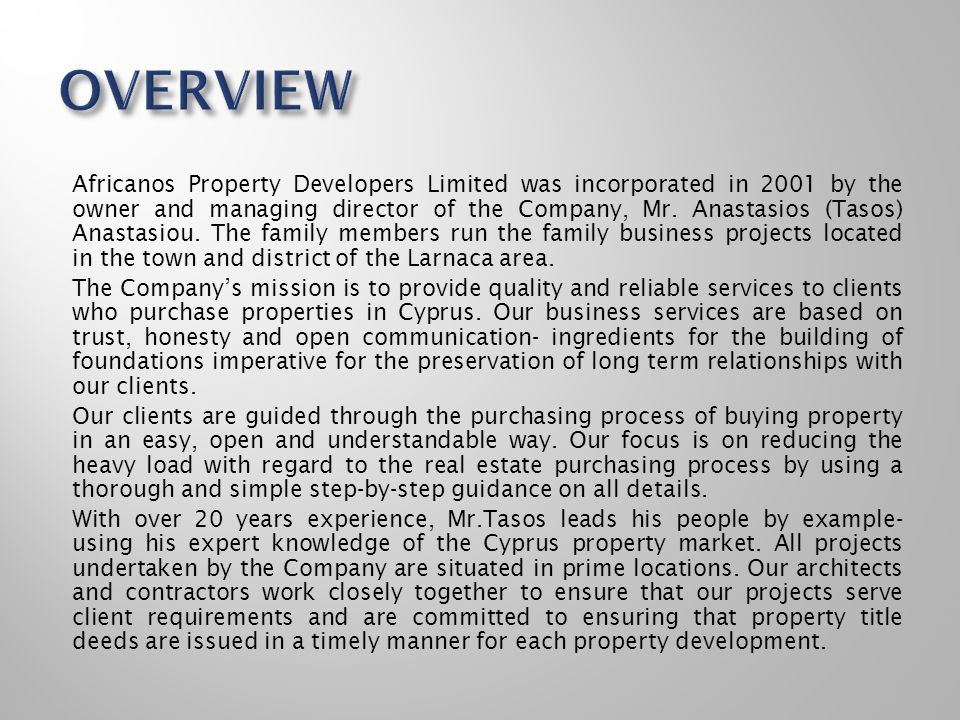 MANAGING DIRECTOR GENERAL MANAGER SALES & MARKETING DEPARTMENT ACCOUNTING & LEGAL DEPARTMENT RESEARCH & PLANNING DEPARTMENT ADMINISTRATIVE DEPARTMENT TECHNICAL DEPARTMENT CIVIL ENGINEERING/ARCHITECT- DESIGN DEPARTMENT PROPERTY VALUATION DEPARTMENT The Group on a project by project basis outsources specific departments to professional business partners.