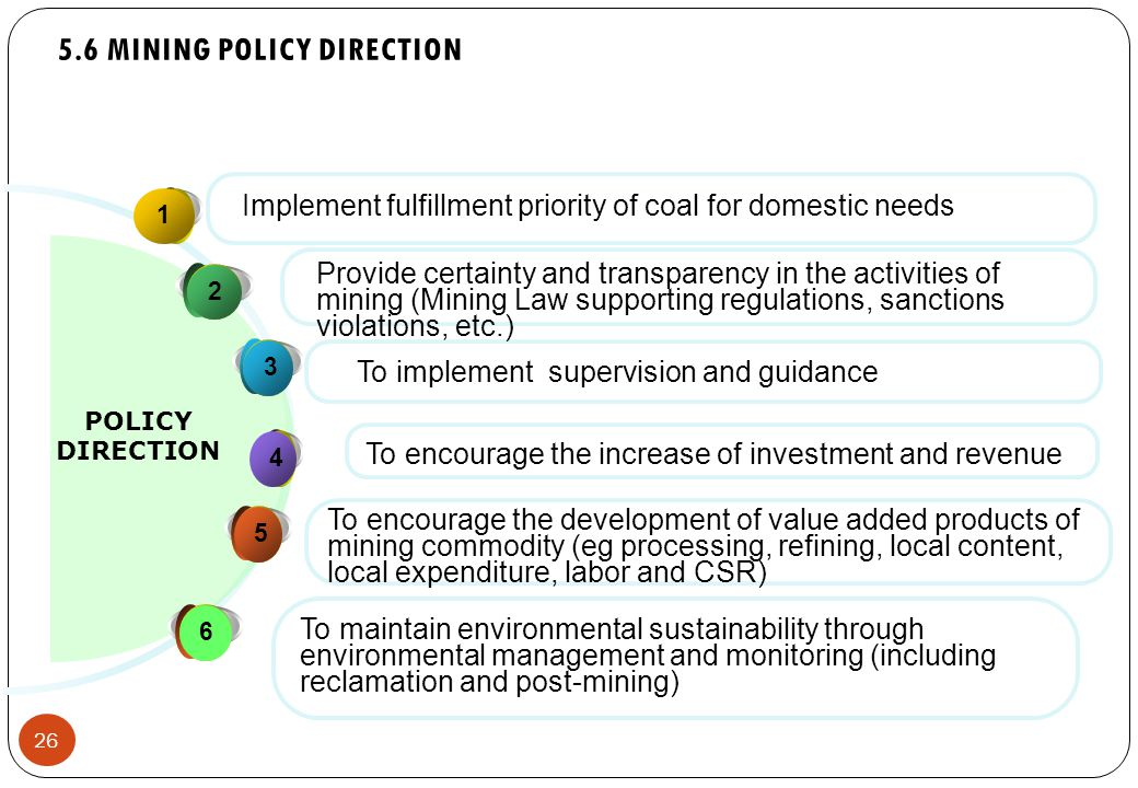 26 5.6 MINING POLICY DIRECTION 1 23 4 5 POLICY DIRECTION Provide certainty and transparency in the activities of mining (Mining Law supporting regulations, sanctions violations, etc.) Implement fulfillment priority of coal for domestic needs To encourage the increase of investment and revenue To encourage the development of value added products of mining commodity (eg processing, refining, local content, local expenditure, labor and CSR) 6 To maintain environmental sustainability through environmental management and monitoring (including reclamation and post-mining) To implement supervision and guidance