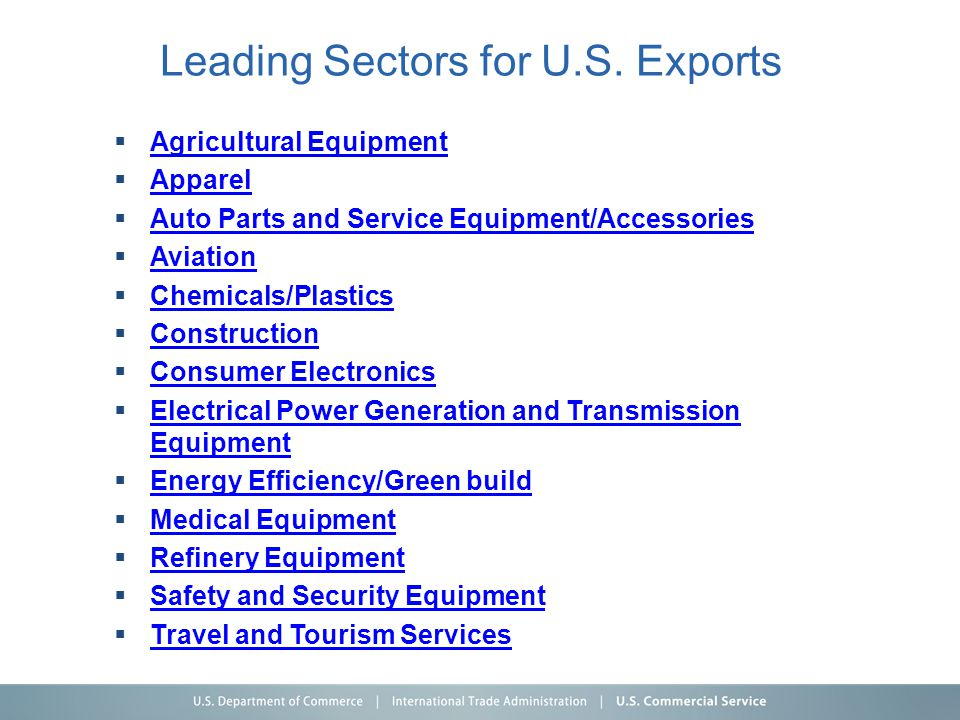 Leading Sectors for U.S. Exports  Agricultural Equipment Agricultural Equipment  Apparel Apparel  Auto Parts and Service Equipment/Accessories Auto