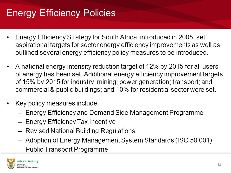 Energy Efficiency Policies Energy Efficiency Strategy for South Africa, introduced in 2005, set aspirational targets for sector energy efficiency improvements as well as outlined several energy efficiency policy measures to be introduced.