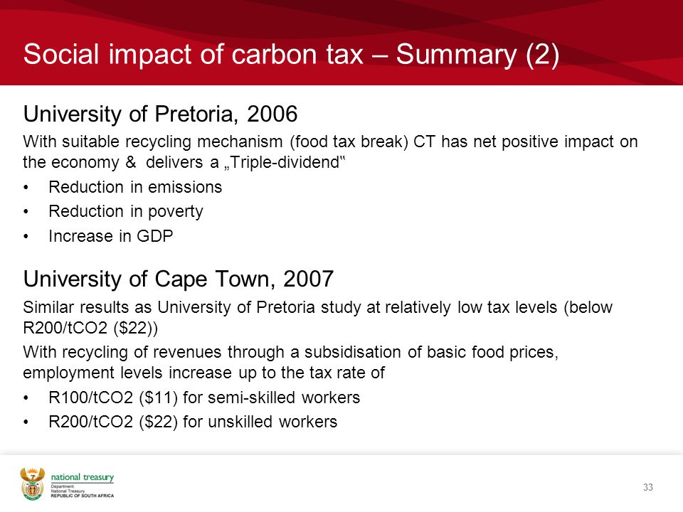 "Social impact of carbon tax – Summary (2) University of Pretoria, 2006 With suitable recycling mechanism (food tax break) CT has net positive impact on the economy & delivers a ""Triple-dividend "" Reduction in emissions Reduction in poverty Increase in GDP University of Cape Town, 2007 Similar results as University of Pretoria study at relatively low tax levels (below R200/tCO2 ($22)) With recycling of revenues through a subsidisation of basic food prices, employment levels increase up to the tax rate of R100/tCO2 ($11) for semi-skilled workers R200/tCO2 ($22) for unskilled workers 33"