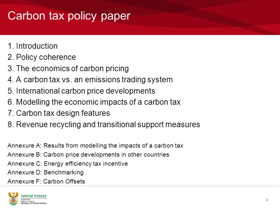 Carbon tax policy paper 1. Introduction 2. Policy coherence 3.