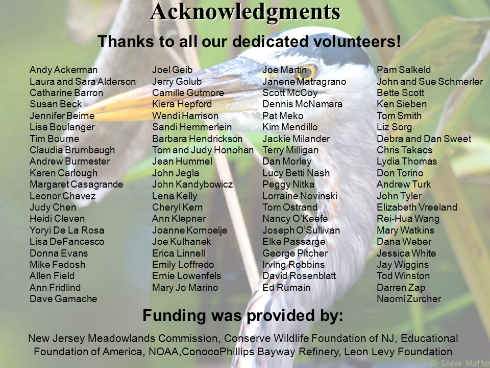 Acknowledgments Thanks to all our dedicated volunteers.