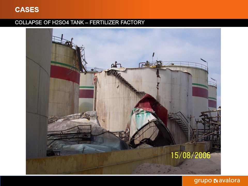 Titulo de la Presentación CASES COLLAPSE OF H2SO4 TANK – FERTILIZER FACTORY