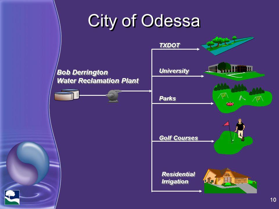City of Odessa 10 Bob Derrington Water Reclamation Plant Bob Derrington Water Reclamation Plant TXDOT University Parks Golf Courses Residential Irriga