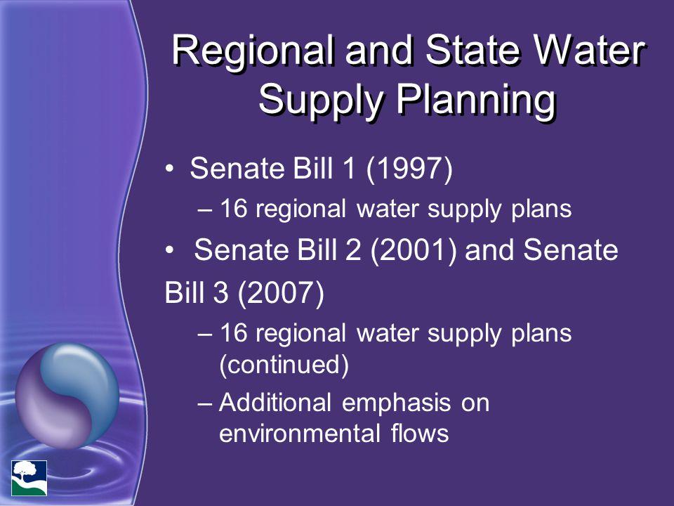 Regional and State Water Supply Planning Senate Bill 1 (1997) –16 regional water supply plans Senate Bill 2 (2001) and Senate Bill 3 (2007) –16 region