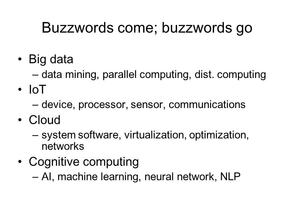 Buzzwords come; buzzwords go Big data –data mining, parallel computing, dist.