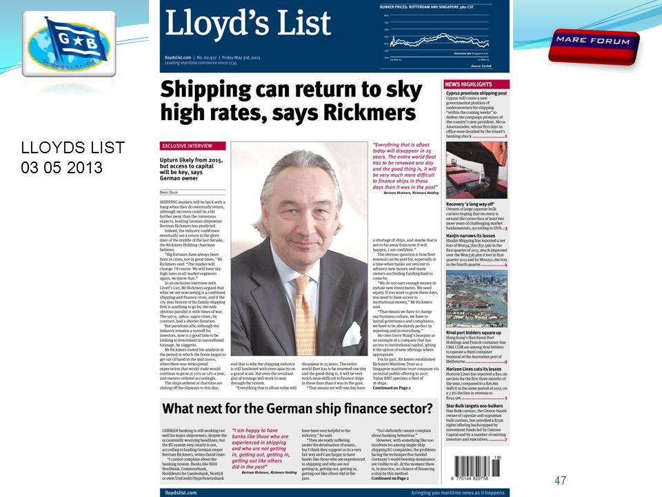 Giuseppe Bottiglieri - 8th May 201347 LLOYDS LIST 03 05 2013