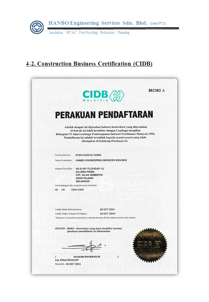 4-2.Construction Business Certification (CIDB) HANBO Engineering Services Sdn.