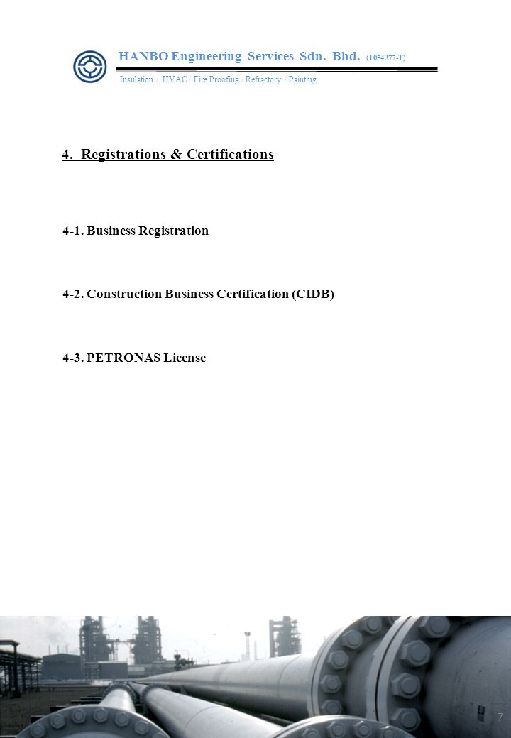 4-1.Business Registration 4-2. Construction Business Certification (CIDB) 4-3.