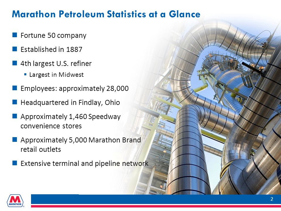 Marathon Petroleum Statistics at a Glance Fortune 50 company Established in 1887 4th largest U.S.