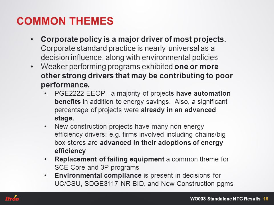 COMMON THEMES 16WO033 Standalone NTG Results Corporate policy is a major driver of most projects.