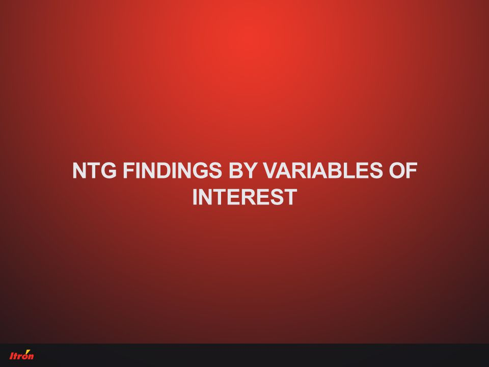NTG FINDINGS BY VARIABLES OF INTEREST