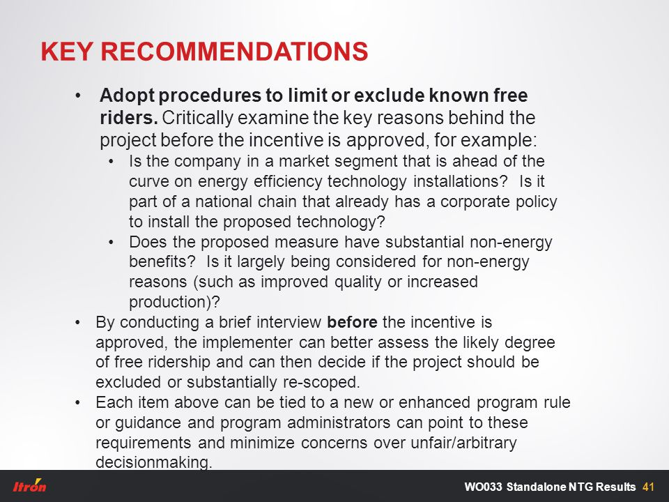 KEY RECOMMENDATIONS 41WO033 Standalone NTG Results Adopt procedures to limit or exclude known free riders.