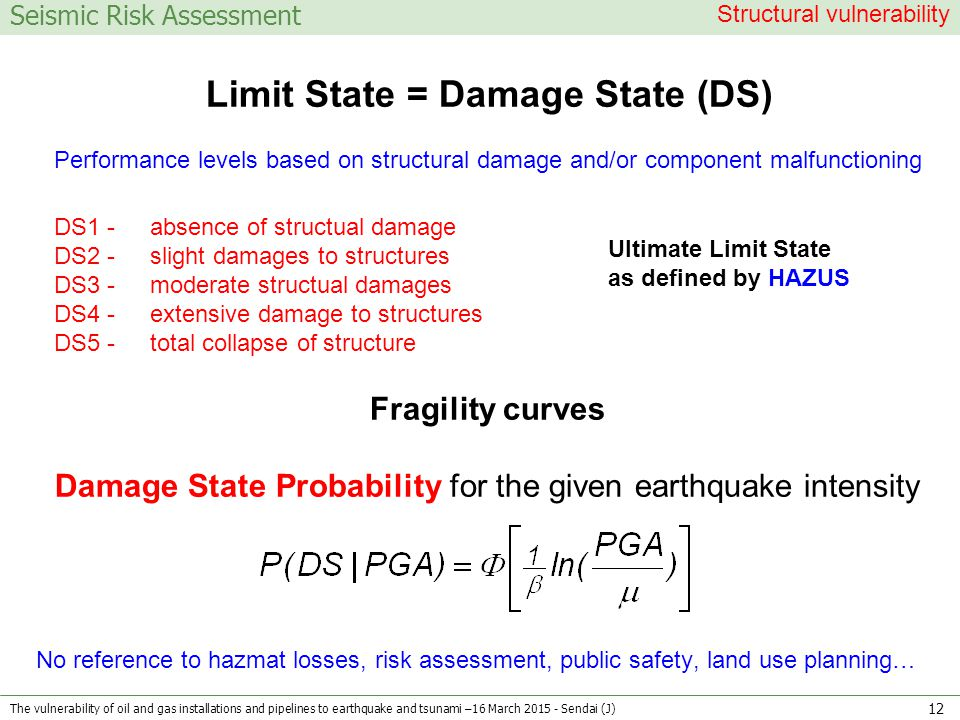 Seismic Risk Assessment Limit State = Damage State (DS) Performance levels based on structural damage and/or component malfunctioning DS1 - absence of