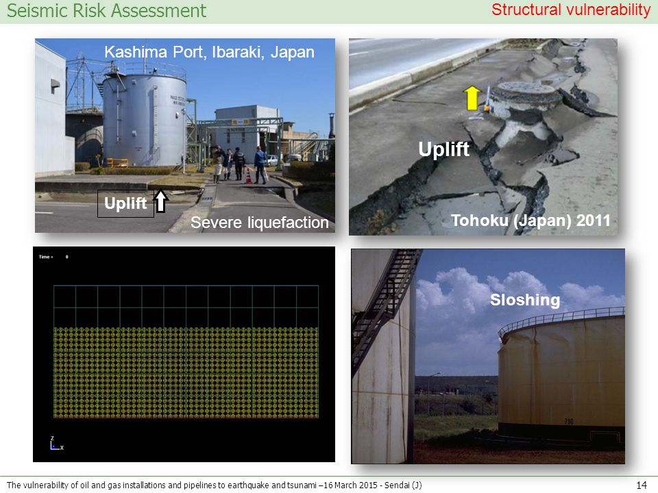 Seismic Risk Assessment Uplift Tohoku (Japan) 2011 Structural vulnerability Uplift Kashima Port, Ibaraki, Japan Severe liquefaction Sloshing The vulnerability of oil and gas installations and pipelines to earthquake and tsunami –16 March 2015 - Sendai (J) 14