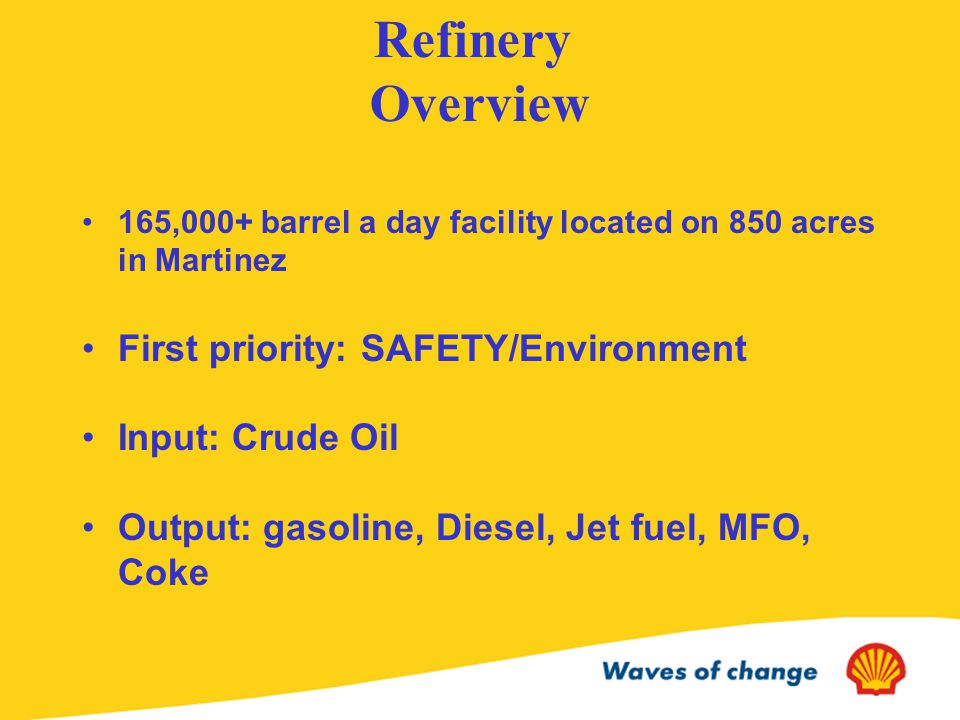 Refinery Overview 165,000+ barrel a day facility located on 850 acres in Martinez First priority: SAFETY/Environment Input: Crude Oil Output: gasoline, Diesel, Jet fuel, MFO, Coke