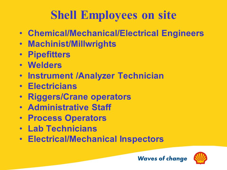 Shell Employees on site Chemical/Mechanical/Electrical Engineers Machinist/Millwrights Pipefitters Welders Instrument /Analyzer Technician Electricians Riggers/Crane operators Administrative Staff Process Operators Lab Technicians Electrical/Mechanical Inspectors