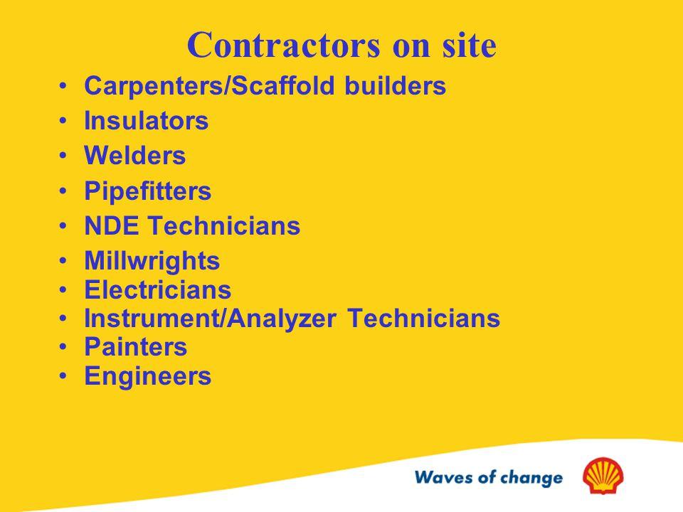 Contractors on site Carpenters/Scaffold builders Insulators Welders Pipefitters NDE Technicians Millwrights Electricians Instrument/Analyzer Technicians Painters Engineers