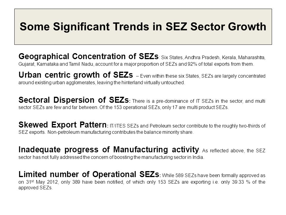 Some Significant Trends in SEZ Sector Growth Geographical Concentration of SEZs : Six States, Andhra Pradesh, Kerala, Maharashtra, Gujarat, Karnataka