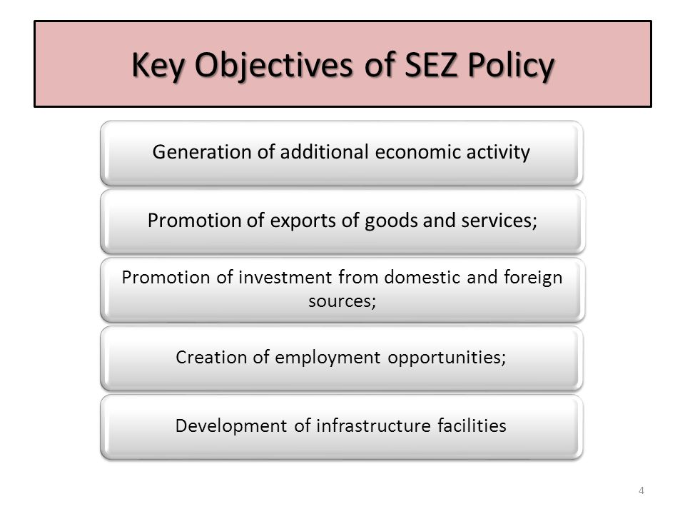Key Objectives of SEZ Policy Generation of additional economic activityPromotion of exports of goods and services; Promotion of investment from domest