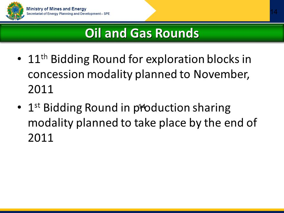 Ministry of Mines and Energy Secretariat of Energy Planning and Development – SPE Oil and Gas Rounds 11 th Bidding Round for exploration blocks in con