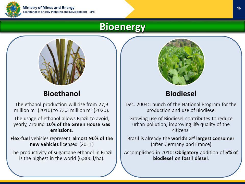 Ministry of Mines and Energy Secretariat of Energy Planning and Development – SPE BioenergyBioenergy 16 Bioethanol The ethanol production will rise fr
