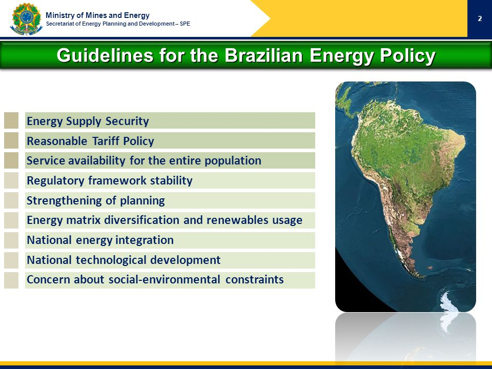 Ministry of Mines and Energy Secretariat of Energy Planning and Development – SPE Guidelines for the Brazilian Energy Policy 2 Energy Supply Security