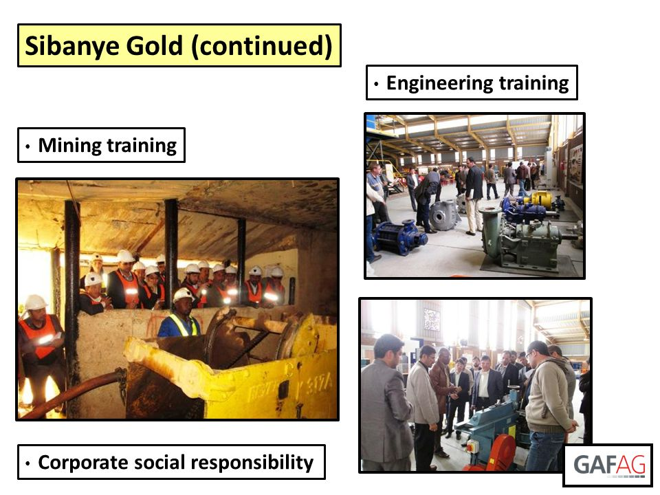 Sibanye Gold (continued) Mining training Corporate social responsibility Engineering training