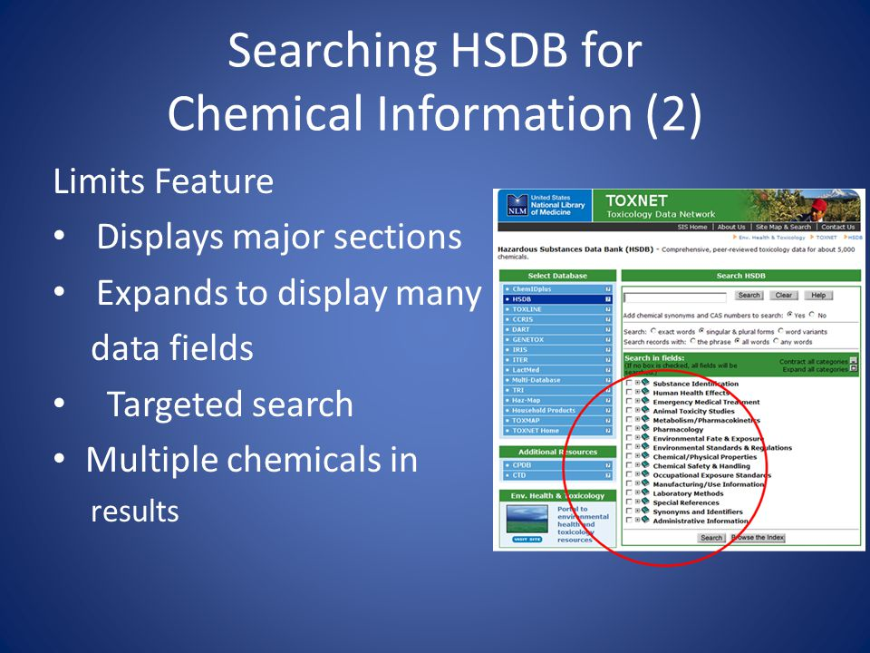 Searching HSDB for Chemical Information (2) Limits Feature Displays major sections Expands to display many data fields Targeted search Multiple chemicals in results