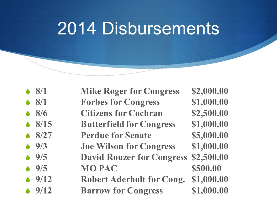 2014 Disbursements  8/1Mike Roger for Congress$2,000.00  8/1Forbes for Congress$1,000.00  8/6Citizens for Cochran$2,500.00  8/15Butterfield for Congress$1,000.00  8/27Perdue for Senate$5,000.00  9/3Joe Wilson for Congress$1,000.00  9/5David Rouzer for Congress$2,500.00  9/5MO PAC$500.00  9/12Robert Aderholt for Cong.$1,000.00  9/12Barrow for Congress$1,000.00