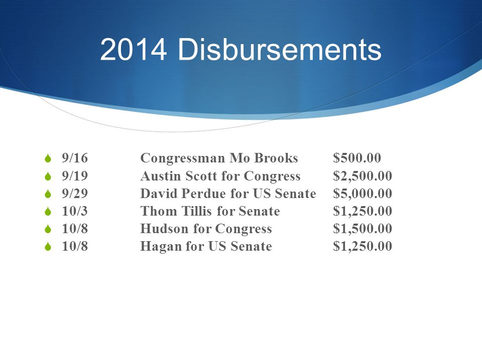2014 Disbursements  9/16Congressman Mo Brooks$500.00  9/19Austin Scott for Congress$2,500.00  9/29David Perdue for US Senate$5,000.00  10/3Thom Tillis for Senate$1,250.00  10/8Hudson for Congress$1,500.00  10/8Hagan for US Senate$1,250.00