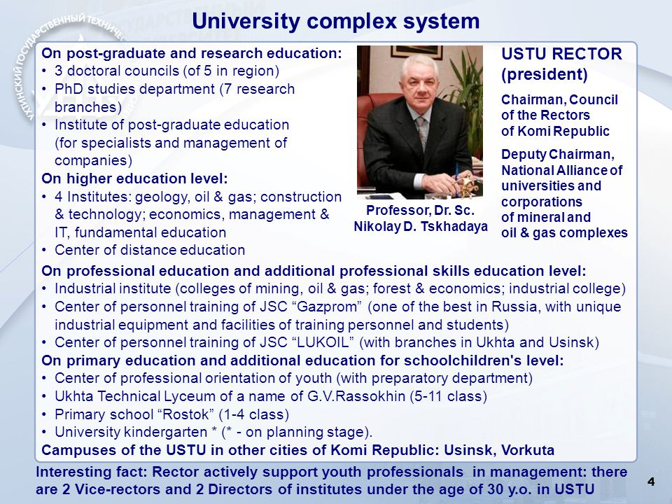 4 University complex system On post-graduate and research education: 3 doctoral councils (of 5 in region) PhD studies department (7 research branches)