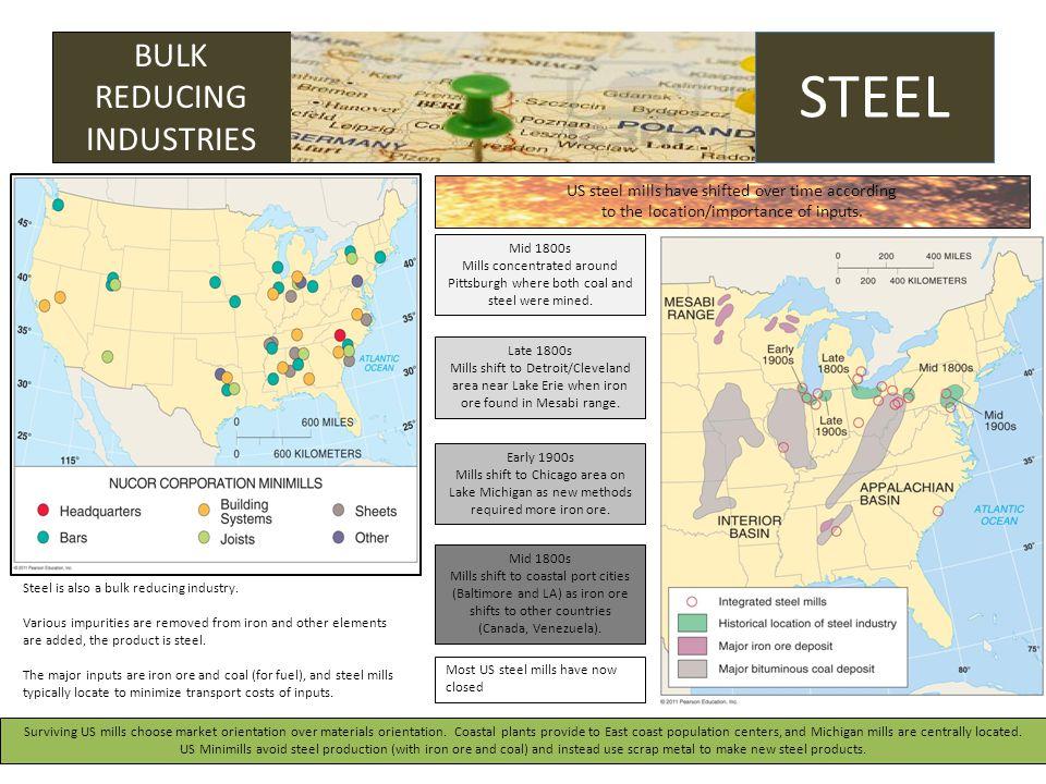 GROUNDING BULK REDUCING INDUSTRIES STEEL Steel is also a bulk reducing industry.